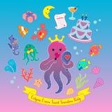 Иллюстрация вектора партии помадки 17 ферзя осьминога Иллюстрация штока