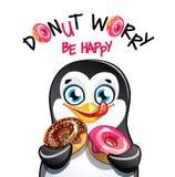 Иллюстрация вектора пингвина шаржа с donuts стоковые изображения rf