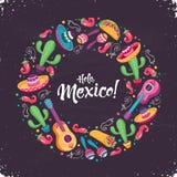 Иллюстрация вектора плаката Hola Мексики иллюстрация штока