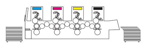 Иллюстрация вектора плана печатной машины - смещенного печатного станка от внутренности Стоковые Фото