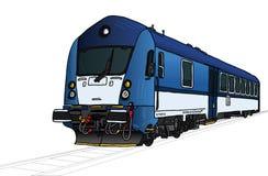 Иллюстрация вектора поезда в перспективе Стоковое Изображение RF