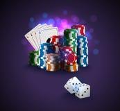 Иллюстрация вектора покера, стог обломоков покера, карточек туза на предпосылке bokeh фиолетовой, белизне 2 dices на переднем пла Стоковая Фотография