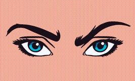 иллюстрация вектора Поп-искусства хмуриться глаза иллюстрация штока