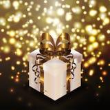 Иллюстрация вектора предпосылки золота золотой ленты коробки настоящего момента белизны праздника сияющая Стоковые Фотографии RF