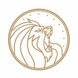 Иллюстрация вектора предпосылки логотипа золота круга реветь льва белая Стоковые Изображения RF