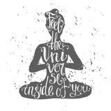 Иллюстрация вектора размышляя женщины в представлении йоги Стоковое Изображение RF