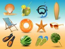 Иллюстрация вектора реалистических значков пляжа взморья летних отпусков установила изолированный на предпосылке взморья Стоковая Фотография RF