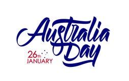 Иллюстрация вектора: Рукописный каллиграфический тип литерность щетки дня Австралии 26th -го январь на белой предпосылке иллюстрация вектора