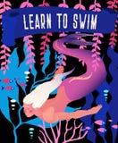 Иллюстрация вектора русалки Подводный морской ландшафт сказки с характером фантазии мифологии Яркий винтажный ретро плакат иллюстрация вектора