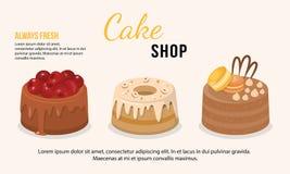Иллюстрация вектора свежих установленных тортов иллюстрация штока