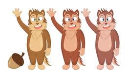 Иллюстрация вектора Сибирских бурундуков мультфильма смешных развевая их руки Концепция для книг детей, сказки, печать, эмблема,  иллюстрация вектора