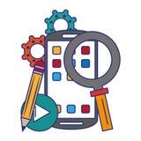 Иллюстрация вектора системного программного обеспечения смартфона оперативная бесплатная иллюстрация