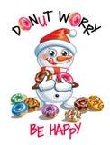 Иллюстрация вектора снеговика шаржа с donuts Стоковые Фото
