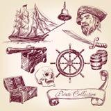 Иллюстрация вектора собрания пирата Стоковые Изображения RF