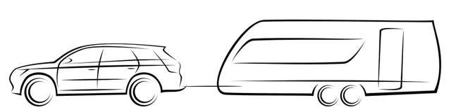 Иллюстрация вектора современного автомобиля SUV буксируя аэродинамический трейлер для располагаться лагерем стоковая фотография rf
