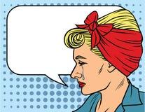 Иллюстрация вектора стороны ` s женщины в стиле искусства шипучки над предпосылкой точечного растра Бесплатная Иллюстрация