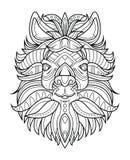 Иллюстрация вектора страницы расцветки козы головная Стоковые Фотографии RF
