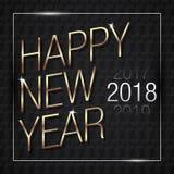Иллюстрация вектора счастливого золота 2018 Нового Года с черными цветами картины иллюстрация вектора