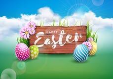 Иллюстрация вектора счастливого праздника пасхи с покрашенными яичком и цветком на зеленой предпосылке природы международно иллюстрация штока