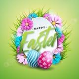Иллюстрация вектора счастливого праздника пасхи с покрашенными яичком и цветком цвета на сияющей зеленой предпосылке международно бесплатная иллюстрация
