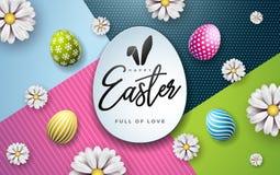 Иллюстрация вектора счастливого праздника пасхи с покрашенным цветком яйца и весны на красочной предпосылке международно иллюстрация вектора