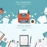 Иллюстрация вектора с квартирой typewrite Скажите ваш рассказ идентификации Блоги иллюстрация штока