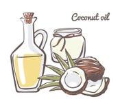 Иллюстрация вектора с кокосовым маслом Стоковое Фото