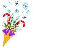Иллюстрация вектора с конусом мороженого, тросточками конфеты, снежинками, sprig рождественских елок, колоколом Дизайн для карты  иллюстрация вектора
