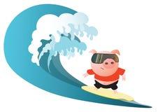 Иллюстрация вектора с милым серфером свиньи бесплатная иллюстрация