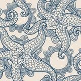 Иллюстрация вектора с морскими звездами абстрактная картина безшовная иллюстрация вектора