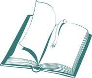 Иллюстрация вектора с открытыми книгой и закладкой иллюстрация штока