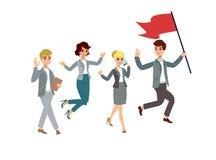 Иллюстрация вектора с персонажами из мультфильма Этапы жизни команды водительство управление Успешная команда Стоковое фото RF