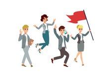 Иллюстрация вектора с персонажами из мультфильма Этапы жизни команды водительство управление Успешная команда Стоковая Фотография RF