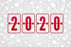 Иллюстрация 2020 вектора табло С Новым Годом! Картина снега зимнего отдыха Декоративная предпосылка рождества с снежинками иллюстрация вектора