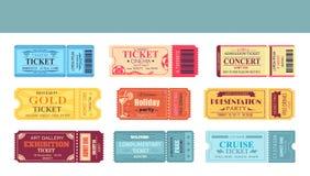 Иллюстрация вектора театра и кино установленная билетами иллюстрация вектора