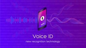 Иллюстрация вектора технологии опознавания id голоса новой стоковое изображение