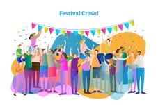 Иллюстрация вектора толпы фестиваля Массовая группа в составе вентиляторы и зрители танцуют, хлопают и осматривают концерт, развл иллюстрация вектора
