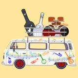 Иллюстрация вектора туристического автобуса музыки плоская Стоковые Фото