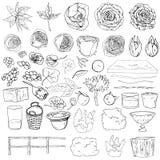 Иллюстрация вектора установила украшений свадьбы doodles черно-белое Заводы изолированные на белой предпосылке Цветки, кусты, иллюстрация штока
