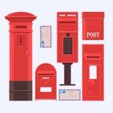Иллюстрация вектора установленных коробок почты Винтажная английская коробка столба Стоковое Изображение RF