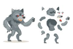 Иллюстрация вектора характера анимации игры RPG действия фантазии чудовища оборотня волка средневековым наслоенная характером гот бесплатная иллюстрация
