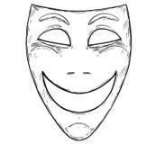 Иллюстрация вектора художественная рисуя счастливой усмехаясь маски комедии иллюстрация вектора