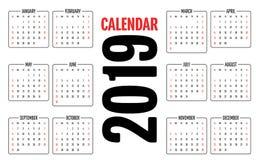 Иллюстрация вектора шаблона дизайна 2019 календарей Стоковое Изображение RF