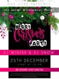 Иллюстрация вектора шаблона плаката рождественской вечеринки с ярлыком литерности руки - с Рождеством Христовым - с реалистическо бесплатная иллюстрация