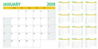 Иллюстрация 2019 вектора шаблона плановика календаря Стоковые Изображения