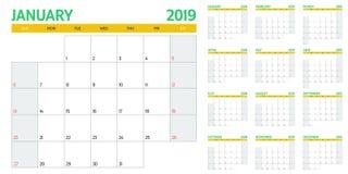 Иллюстрация 2019 вектора шаблона плановика календаря Стоковая Фотография RF