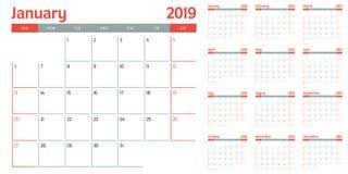 Иллюстрация 2019 вектора шаблона плановика календаря Стоковые Фотографии RF