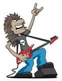 Иллюстрация вектора шаржа гитариста утеса тяжелого метала стоковые фото
