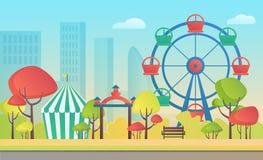 Иллюстрация вектора шаржа парка города осени развлечений занятности общественного с красочными сезонными деревьями иллюстрация штока
