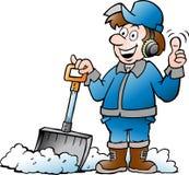 Иллюстрация вектора шаржа счастливого работника разнорабочего с его лопаткоулавливателем снега иллюстрация вектора